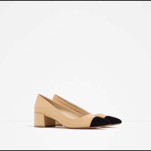 Zara Shoes | Zara Cap Toe Mid Heels